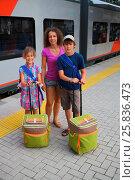 Купить «Young mother and two children waiting for train on railway station platform», фото № 25836473, снято 4 августа 2014 г. (c) Losevsky Pavel / Фотобанк Лори