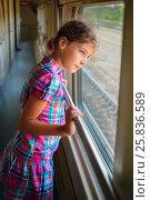 Купить «Young girl standing inside train and looking trough window», фото № 25836589, снято 5 августа 2014 г. (c) Losevsky Pavel / Фотобанк Лори