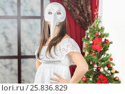 Купить «Half-length portrait of young woman in white mask with long nose standing near christmas three, look at us. Christmas interior studio», фото № 25836829, снято 14 декабря 2014 г. (c) Losevsky Pavel / Фотобанк Лори