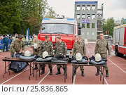 Купить «MOSCOW, RUSSIA - AUG 20, 2016: Firefighters prepar for competition during the Moscow City Championship of combat deployment in Luzhniki», фото № 25836865, снято 20 августа 2016 г. (c) Losevsky Pavel / Фотобанк Лори