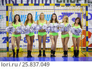 Купить «MYTISHCHI, RUSSIA - OCT 16, 2014: Portrait of six beautiful cheerleaders (with model release) with silvery pompons near football goal on the Russian Futsal Super League in Mytishchi», фото № 25837049, снято 16 октября 2014 г. (c) Losevsky Pavel / Фотобанк Лори