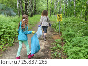 Купить «Mother and daughter clean up forest, in hands of bags of garbage, seen from behind», фото № 25837265, снято 21 июня 2015 г. (c) Losevsky Pavel / Фотобанк Лори