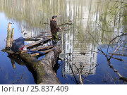 Купить «A man in a cap and rubber boots standing with a fishing rod on driftwood near the pond with reflection of a multistory building», фото № 25837409, снято 1 мая 2015 г. (c) Losevsky Pavel / Фотобанк Лори