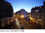 Купить «PARIS, FRANCE - SEP 09, 2014: Street Rue La Fayette in Paris in the evening, top view», фото № 25837745, снято 9 сентября 2014 г. (c) Losevsky Pavel / Фотобанк Лори