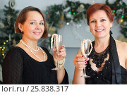 Купить «Two happy middle-aged women hold glasses with beads near christmas tree», фото № 25838317, снято 24 декабря 2014 г. (c) Losevsky Pavel / Фотобанк Лори