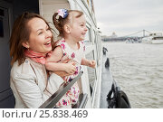 Купить «Mother with little daughter at railng on pleasure boat deck», фото № 25838469, снято 23 мая 2015 г. (c) Losevsky Pavel / Фотобанк Лори