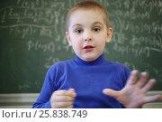 Купить «Little cute boy gestures near blackboard with formulas in classroom», фото № 25838749, снято 7 апреля 2016 г. (c) Losevsky Pavel / Фотобанк Лори