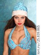 Купить «Portrait of beautiful Snow Maiden with long hair in blue cap», фото № 25839865, снято 22 ноября 2014 г. (c) Losevsky Pavel / Фотобанк Лори