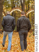 Купить «Two young man in black jacket in autumn park, view from back», фото № 25840057, снято 25 октября 2015 г. (c) Losevsky Pavel / Фотобанк Лори