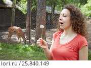 Купить «Portrait of curly woman who going to blow blowball against enclosure with dappled deer», фото № 25840149, снято 31 мая 2015 г. (c) Losevsky Pavel / Фотобанк Лори