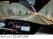 Купить «View through windscreen of car moving by road in tunnel», фото № 25841845, снято 7 августа 2016 г. (c) Losevsky Pavel / Фотобанк Лори