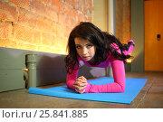 Купить «Beautiful woman in a pink tracksuit standing on elbows raises her feet up», фото № 25841885, снято 10 июня 2015 г. (c) Losevsky Pavel / Фотобанк Лори