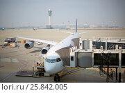 Купить «SEOUL - NOV 05, 2015: Plane at terminal of Incheon airport is largest aviation hub of country», фото № 25842005, снято 5 ноября 2015 г. (c) Losevsky Pavel / Фотобанк Лори