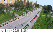 Купить «MOSCOW - AUG 12, 2014: Alexandr Garden along the Kremlin wall, aerial view. It is a favorite place to walk for Moscow residents and guests», фото № 25842281, снято 12 августа 2014 г. (c) Losevsky Pavel / Фотобанк Лори
