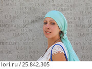 Купить «Portrait of a woman near the memorial stone plate in the park of New York», фото № 25842305, снято 7 сентября 2014 г. (c) Losevsky Pavel / Фотобанк Лори
