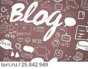 Купить «Man with Blog graphic drawings», фото № 25842949, снято 21 апреля 2019 г. (c) Wavebreak Media / Фотобанк Лори