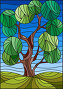Illustration in stained glass style with tree on sky background, иллюстрация № 25844553 (c) Наталья Загорий / Фотобанк Лори