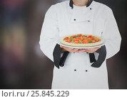 Купить «Chef with pizza against blurry dark grey background», фото № 25845229, снято 26 июня 2019 г. (c) Wavebreak Media / Фотобанк Лори
