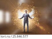 Купить «Angel investor concept with businessman with wings», фото № 25846577, снято 17 августа 2018 г. (c) Elnur / Фотобанк Лори