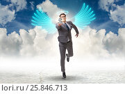 Купить «Angel investor concept with businessman with wings», фото № 25846713, снято 17 ноября 2018 г. (c) Elnur / Фотобанк Лори