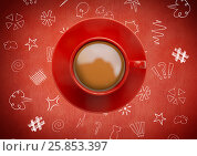 Купить «3D Coffee cup against red background with graphic drawings», иллюстрация № 25853397 (c) Wavebreak Media / Фотобанк Лори