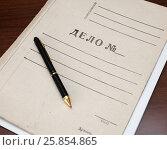 """Купить «Папка с документами с надписью """"Дело №"""" и ручка лежат на столе», эксклюзивное фото № 25854865, снято 27 марта 2017 г. (c) Игорь Низов / Фотобанк Лори"""