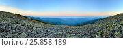 Купить «Summer sunrise mountain panorama (Carpathian, Ukraine).», фото № 25858189, снято 27 марта 2019 г. (c) Юрий Брыкайло / Фотобанк Лори