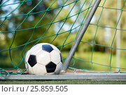 Купить «soccer ball at goal net on football field», фото № 25859505, снято 18 сентября 2016 г. (c) Syda Productions / Фотобанк Лори