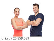 Купить «happy sportive man and woman», фото № 25859589, снято 2 марта 2017 г. (c) Syda Productions / Фотобанк Лори
