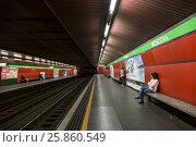 Купить «Интерьер станции метро Москова в Милане, Италия», фото № 25860549, снято 7 мая 2014 г. (c) Наталья Волкова / Фотобанк Лори