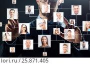 Купить «close up of businessman with virtual contact icons», фото № 25871405, снято 6 сентября 2016 г. (c) Syda Productions / Фотобанк Лори