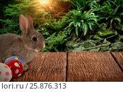 Купить «Composite image of bunny with polka dot easter eggs», фото № 25876313, снято 9 декабря 2018 г. (c) Wavebreak Media / Фотобанк Лори