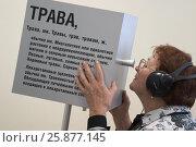 Купить «Женщина смотрит в куб, выставка в Балашихинской Картинной галереи», эксклюзивное фото № 25877145, снято 10 сентября 2005 г. (c) Дмитрий Неумоин / Фотобанк Лори