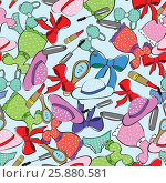 Seamless pattern with women s clothing. Стоковая иллюстрация, иллюстратор Наталия Кречко / Фотобанк Лори