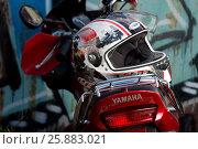 Купить «Мотоцикл Yamaha YBR125», фото № 25883021, снято 23 июля 2016 г. (c) Владимир Попков / Фотобанк Лори
