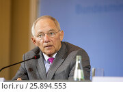 """Купить «Berlin, Germany. April 07, 2014. Joint press conference with Dr. BM Wolfgang Schäuble and new French Minister of Finance Michel Sapin on the subject """"...», фото № 25894553, снято 7 апреля 2014 г. (c) age Fotostock / Фотобанк Лори"""