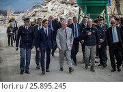 Купить «Prince Charles, Prince of Wales with the head of the Italian Civil Protection Fabrizio Curcio (right) during their visit to earthquake zone in Amatrice, Italy on April 2, 2017.», фото № 25895245, снято 2 апреля 2017 г. (c) age Fotostock / Фотобанк Лори