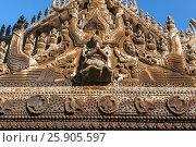 Купить «Carvings on top of Shwenandaw Kyaung Temple or Golden Palace Monastery in Mandalay, Myanmar», фото № 25905597, снято 27 мая 2019 г. (c) BE&W Photo / Фотобанк Лори