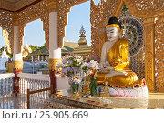Купить «Buddha altar at Kuthodaw Pagoda in Mandalay, Myanmar», фото № 25905669, снято 22 мая 2019 г. (c) BE&W Photo / Фотобанк Лори