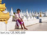 Купить «Young Burmese Woman at Sandamuni (Sanda Muni) Pagoda (Paya), Mandalay, Burma Myanmar», фото № 25905689, снято 27 мая 2019 г. (c) BE&W Photo / Фотобанк Лори