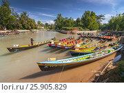 Купить «Boats waiting for tourists, Nyaung Shwe, Inle lake, Shan state, Myanmar», фото № 25905829, снято 16 января 2019 г. (c) BE&W Photo / Фотобанк Лори