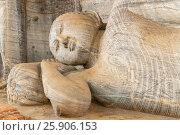 Купить «Buddha statue at Gal vihara temple in Polonnaruwa, Sri Lanka. The temple has four rock relief statues of the buddha carved of a large rock», фото № 25906153, снято 16 октября 2018 г. (c) BE&W Photo / Фотобанк Лори