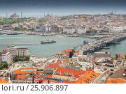 Купить «View from the Galata Tower across the Galata Bridge and Golden Horn to Eminonu district, Istanbul, Turkey», фото № 25906897, снято 21 августа 2018 г. (c) BE&W Photo / Фотобанк Лори