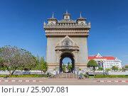 Купить «Patuxai, Victory Gate, a replica of Arc de Triomphe, Vientiane, Laos, Indochina, Southeast Asia, Asia», фото № 25907081, снято 25 мая 2019 г. (c) BE&W Photo / Фотобанк Лори