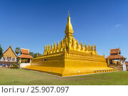 Купить «Pha That Luang, symbol of the Laos sovereignty, Buddhist religion and the city of Vientiane, Vientiane, Laos», фото № 25907097, снято 26 марта 2019 г. (c) BE&W Photo / Фотобанк Лори