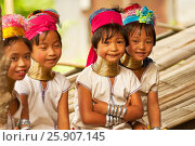 Купить «Young children of the Long-neck women Padaung Tribe, Thailand», фото № 25907145, снято 22 сентября 2019 г. (c) BE&W Photo / Фотобанк Лори
