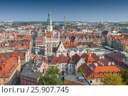 Купить «View from Castle tower on town hall and old buildings in center of polish city Poznan, Poland», фото № 25907745, снято 23 января 2019 г. (c) BE&W Photo / Фотобанк Лори