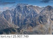 Купить «View from Kasprowy Wierch in High Tatra Mountains, Poland», фото № 25907749, снято 21 октября 2018 г. (c) BE&W Photo / Фотобанк Лори