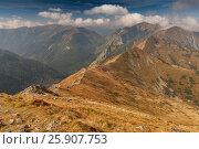 Купить «View from Kasprowy Wierch in High Tatra Mountains, Poland», фото № 25907753, снято 21 октября 2018 г. (c) BE&W Photo / Фотобанк Лори