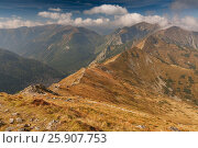 Купить «View from Kasprowy Wierch in High Tatra Mountains, Poland», фото № 25907753, снято 16 декабря 2018 г. (c) BE&W Photo / Фотобанк Лори